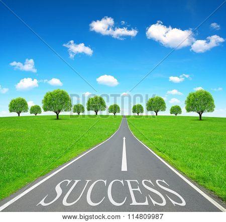 Success writen on emty road.