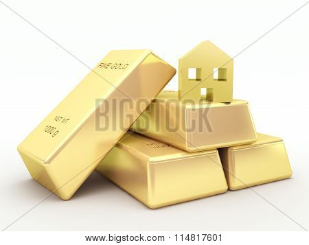 Gold bars and golden house