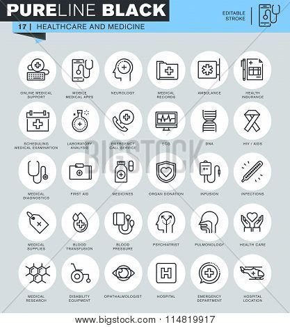 Thin line icons set of healthcare and medicine