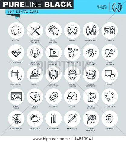 Thin line icons set of dental care