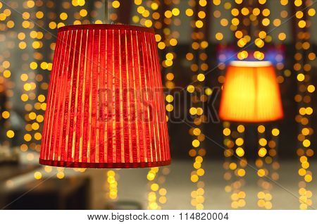 Red Light On The Background Of Blurred Lights