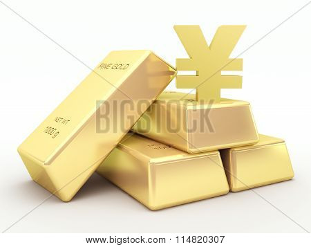 Gold bars and golden yen symbol