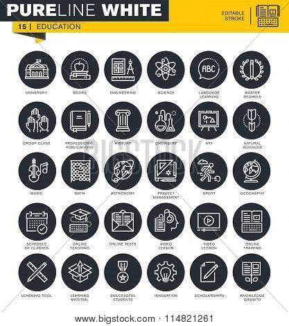 Set of thin line icons for education