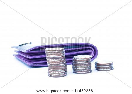 Coins With Wallet Isolated On White Background
