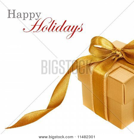 Gold Gift Box On White  Background With Copy Space