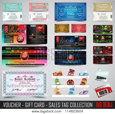 Set of Voucher Gift Cards layout template for your promotional design, tickets template, printed gift cards.. Space and fields for text, front and back provided.