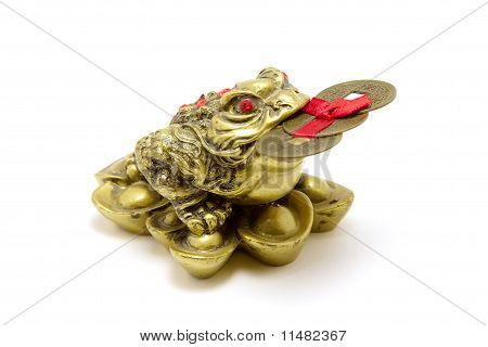 Fen Sui lucky money frog for good luck and riches. Isolated on white background. poster