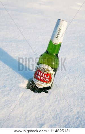 MONTREAL, CANADA - 21 January 2015: A bottle of Stella Artois beer cools in the winter snow. A European pilsner beer, very popular in Canada. Montreal, January 2015.
