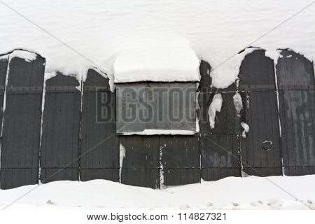 Metal Hangar In Snow.