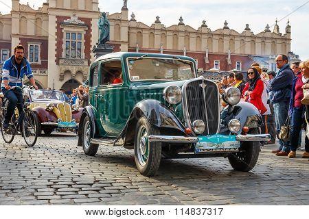 Krakow, Poland - May 15, 2015: Polish Fiat On The Rally Of Vintage Cars In Krakow, Poland