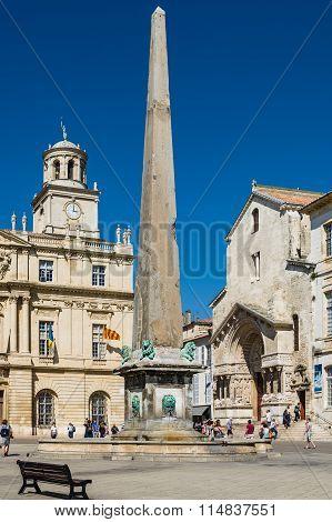 Arles France - September 8, 2015: Place de la Republique in Arles France.2015