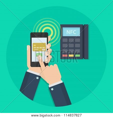 Nfc payment vector flat illustration