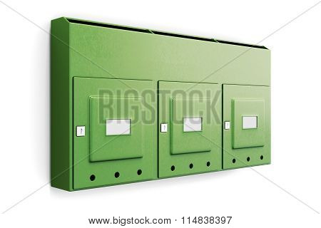 Green Mailbox In An Apartment Building Isolated On White Background. 3D Illustration