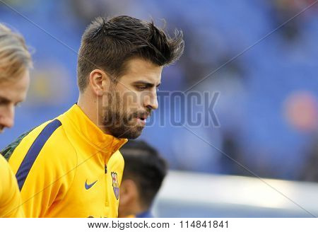 BARCELONA - JAN, 2: Gerard Pique of FC Barcelona before a Spanish League match against RCD Espanyol at the Power8 stadium on January 2, 2016 in Barcelona, Spain