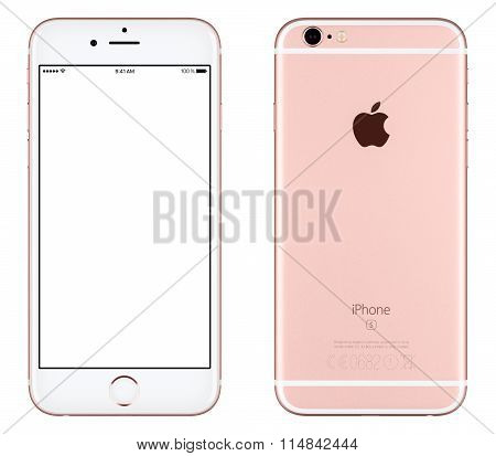 Rose Gold Apple Iphone 6S Mockup Front View With White Screen And Back Side With Apple Inc Logo