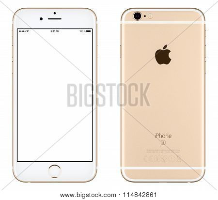 Gold Apple Iphone 6S Mockup Front View With White Screen And Back Side With Apple Inc Logo