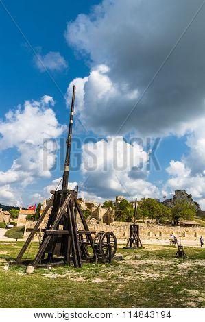 Provence, France - September 8, 2015: Old wooden medieval trebuchet at Chateau Des Baux de Provence France