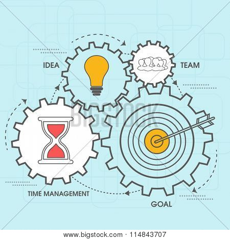 Creative infographic elements on cog wheels for your Business.