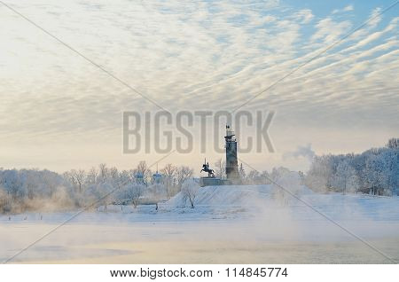 Victory Monument And Trinity Church In Winter Fog In Veliky Novgorod, Russia