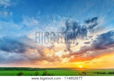 Sunset Over Plain