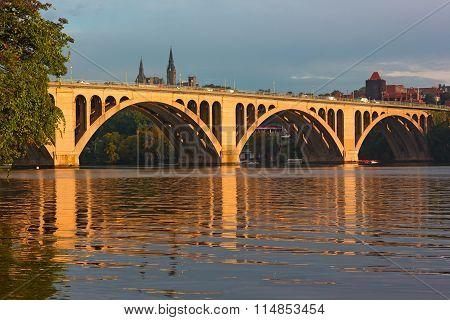Key Bridge at sunrise in Washington DC.
