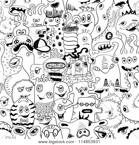 Sketch Seamless Pattern With Funny Monsters.