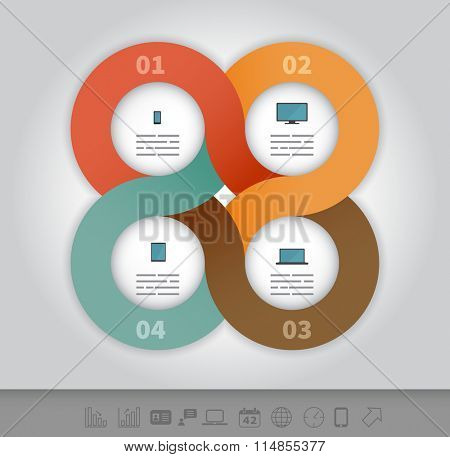 4 options linked circles in origami style infographics presentation template