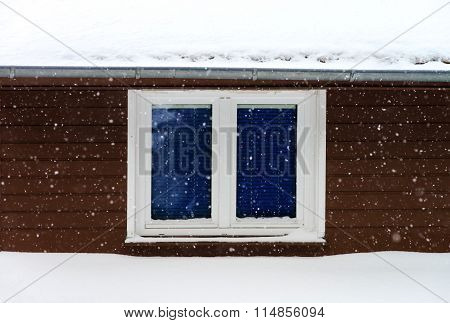 Beautiful Snowflakes On Window And Wall Background