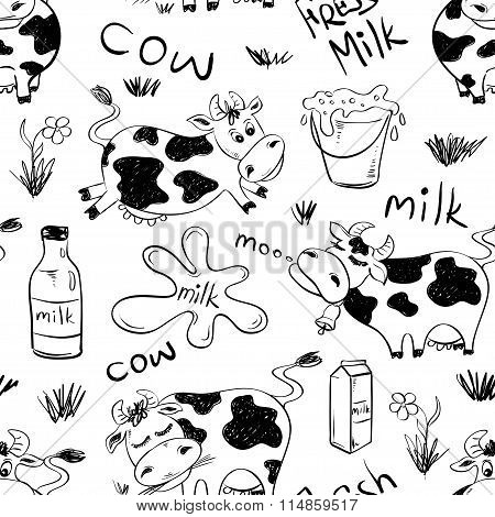 Sketch Seamless Pattern Of Funny Cows.