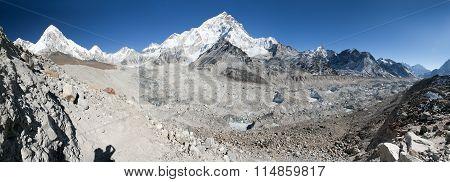 Panoramic View Of Khumbu Glacier, Nuptse And Pumo Ri