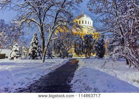 Night photo of Alexander Nevsky Cathedral, Sofia