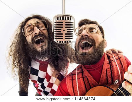 Two nerdy guys singing
