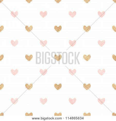 Gold And Pink Hearts On A White Backdrop. Cute Seamless Background Valentine's Day.