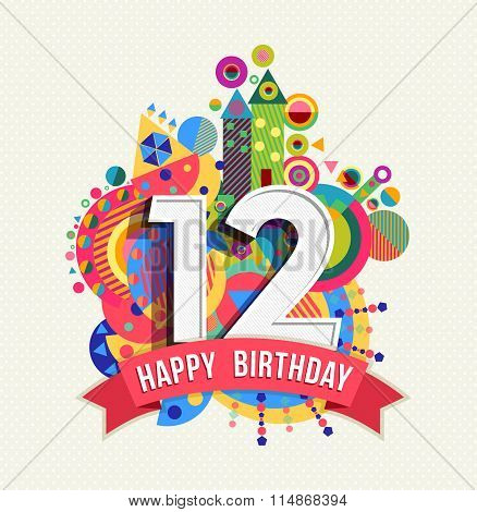 Happy Birthday 12 Year Greeting Card Poster Color