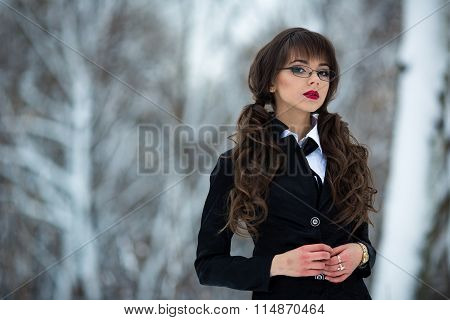Beautiful, sexy, sexual, smart, cute, young teacher, student, teacher, schoolgirl, girl, woman cool suit checkered, short skirt, wearing spectacles, looks proud forward,self-confident. Secretary, model, work, manager.