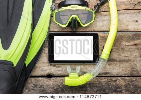 Scuba Diving Or Snorkelling Lesson Template Mock-up Background