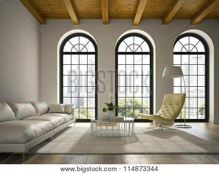 Interior of modern  design loft  with white sofa 3D rendering