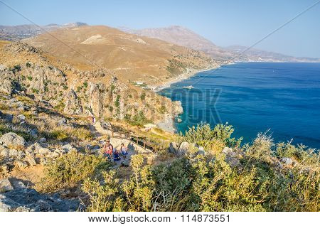 Crete island in summer, view on valley near Plakias town. Panoramic view.