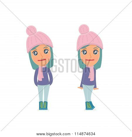Cute and Affectionate Character Winter Girl in shy and awkward poses. for use in presentations etc. poster