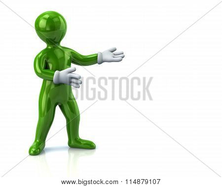 Green Man Presenting Empty Space