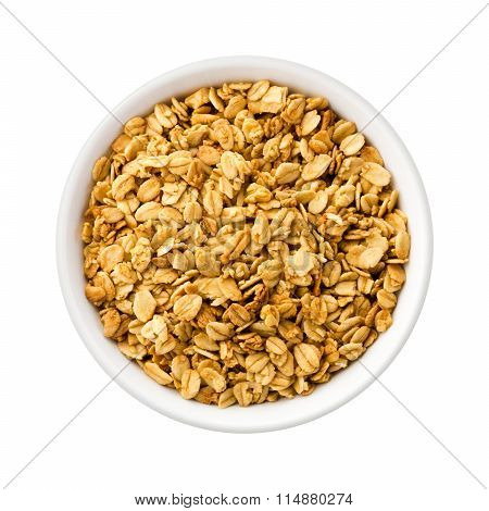 Nutty Granola In A Ceramic Bowl
