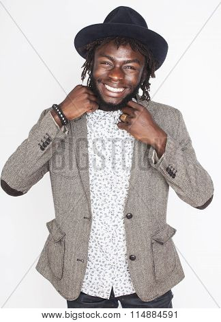 young handsome afro american man gesturing emotional posing isolated on white background stylish hip