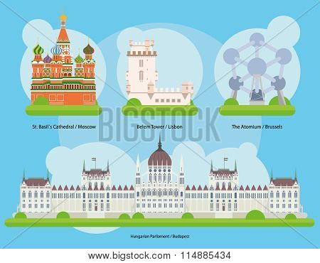 Vector illustration of Monuments and landmarks in Europe Vol. 2