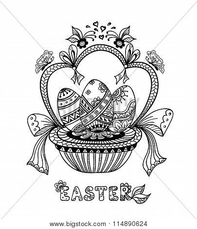 Zen-doodle Easter Eggs in basket   black on white