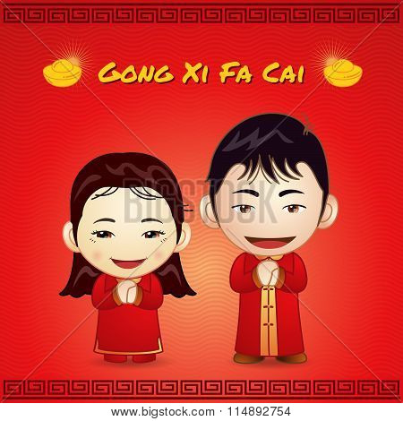 Happy Chinese New Year Gong Ci Fa Cai Happy Couple Thank You Posture