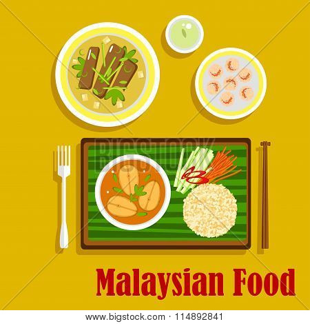 Malaysian cuisine traditional dinner icons