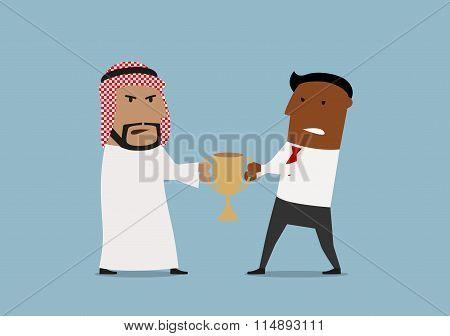 Arabian and black businessmen fighting for trophy