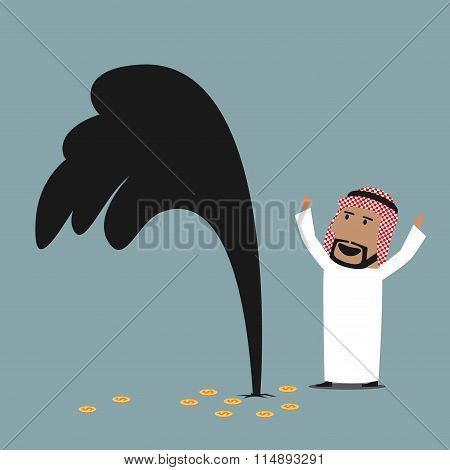 Wealthy arabian businessman with oil gusher