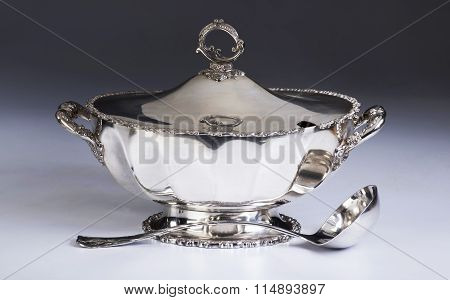 Antique Silver Soup Tureen.