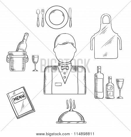 Waiter profession icons with waiter man in uniform, bow tie encircled by menu book, apron, tray with bottles and glass, champagne in ice bucket, plate with fork, knife and spoon, silver cloche. Vector poster